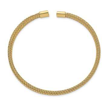 Stainless Steel Polished Yellow IP-plated 6mm Mesh Wire Cuff Bangle