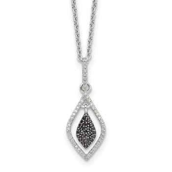 Sterling Silver Black and White Diamond Fashion Pendant Necklace