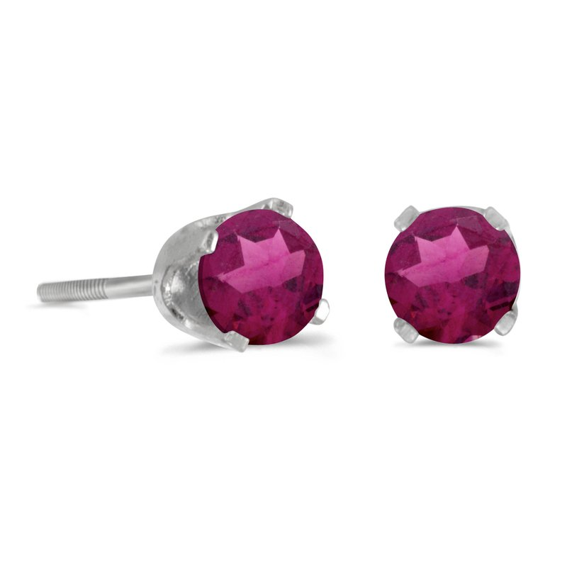 Color Merchants 4 mm Round Rhodolite Garnet Screw-back Stud Earrings in 14k White Gold