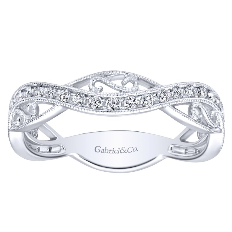 Gabriel Fashion 14K White Gold Twisted Filigree Diamond Stackable Ring