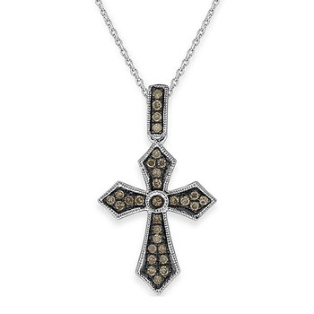 Champagne Diamond Cross Necklace in 14K White Gold with Black Rhodium with 30 diamonds weighing .19ct tw