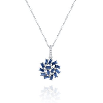 Sapphire & Diamond Firework Cluster Necklace Set in 14 Kt. Gold