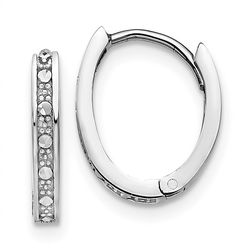 Quality Gold 14k White Gold Diamond-cut Oval Hinged Hoop Earrings