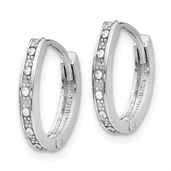 14k White Gold Diamond-cut Oval Hinged Hoop Earrings