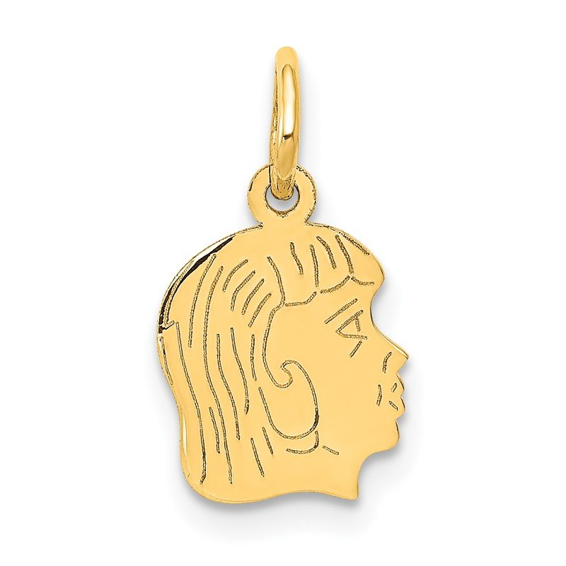 Quality Gold 14k .013 Depth Engravable Girl Head Charm