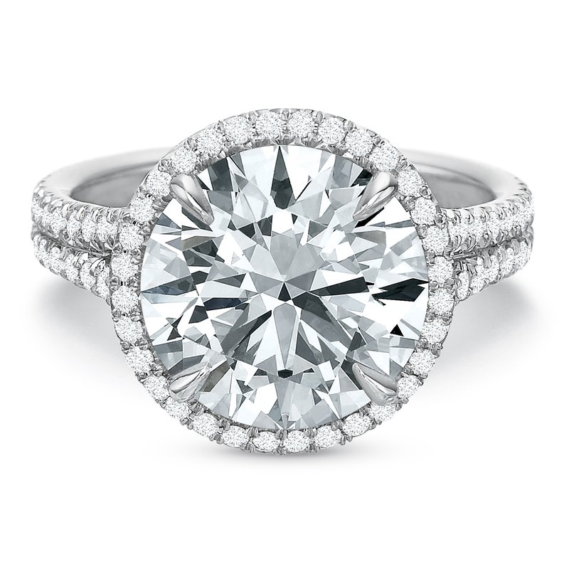 Precision Set 18K White gold halo Semi Mount for 2.00-4.0 ct center