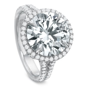 18K White gold halo Semi Mount for 2.00-4.0 ct center