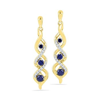 10kt Yellow Gold Womens Round Lab-Created Blue Sapphire Cascade Dangle Earrings 1/2 Cttw