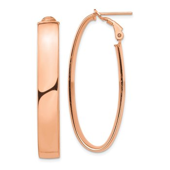 14k Rose Gold High Polished 7mm Omega Back Oval Hoop Earrings
