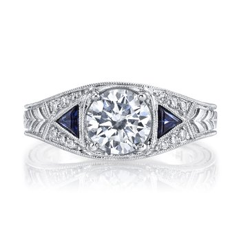 MARS 14586  Diamond Engagement Ring 0.30 Ct Dia, 0.24 Ct Saph.