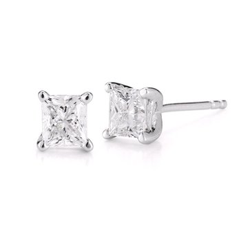 2 cttw Princess Cut Diamond Studs