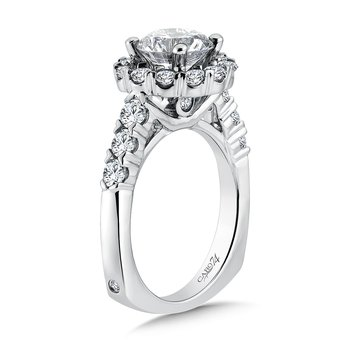 Halo Engagement Ring with Side Stones in 14K White Gold with Platinum Head (2ct. tw.)