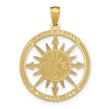 14K Satin / Polished Lost Without You Compass Pendant