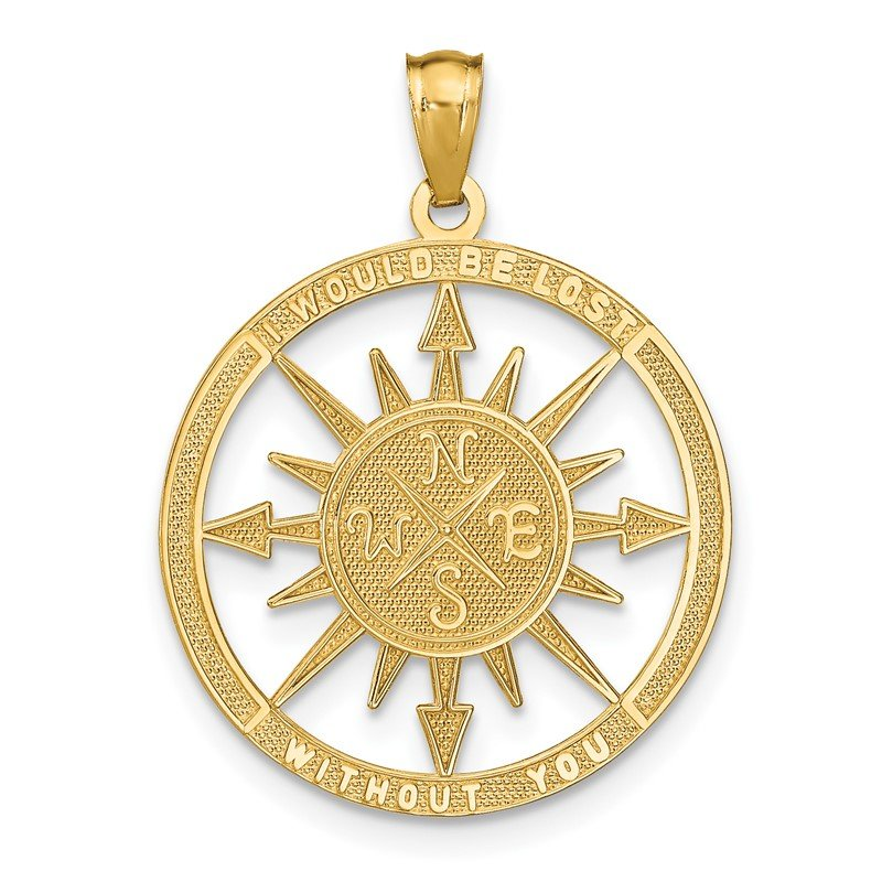 JC Sipe Essentials 14K Satin / Polished Lost Without You Compass Pendant