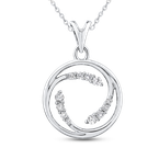 Essentials 10K White Gold 1/4 ct Round White Diamond Fashion Pendant with Chain