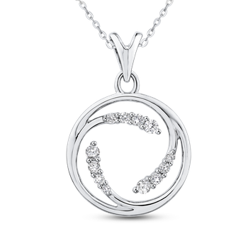 10K White Gold 1/4 ct Round White Diamond Fashion Pendant with Chain