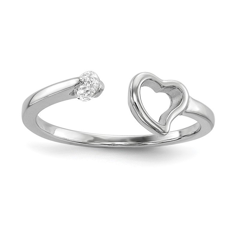 Quality Gold Sterling Silver Rhodium-plated Open Heart CZ Polished Ring