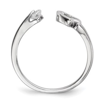 Sterling Silver Rhodium-plated Open Heart CZ Polished Ring