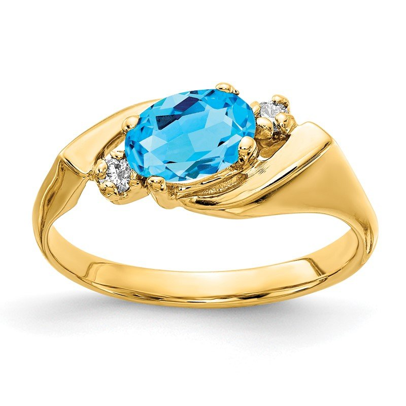 Quality Gold 14k Blue Topaz Diamond Ring