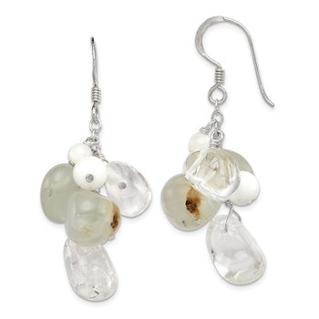 Sterling Silver Jade/Mother Of Pearl/Moonstone/Rock Quartz Earrings