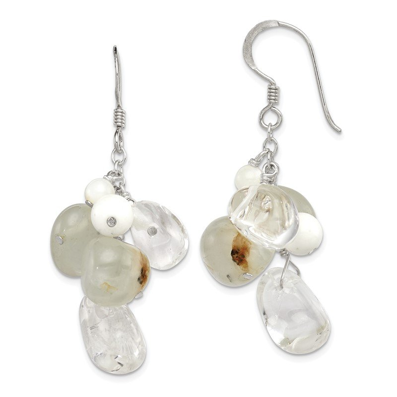 Quality Gold Sterling Silver Jade/Mother Of Pearl/Moonstone/Rock Quartz Earrings