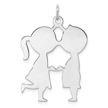 Sterling Silver Rhodium-plated Engraveable Boy/Girl Disc Charm
