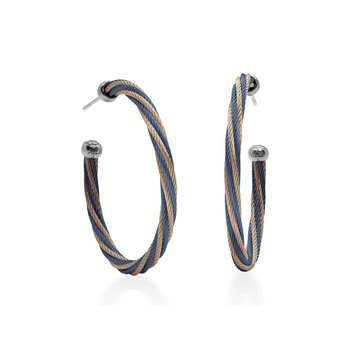 "Blueberry & Carnation Twisted Cable 1.5"" Hoop Earrings with 18kt White Gold"