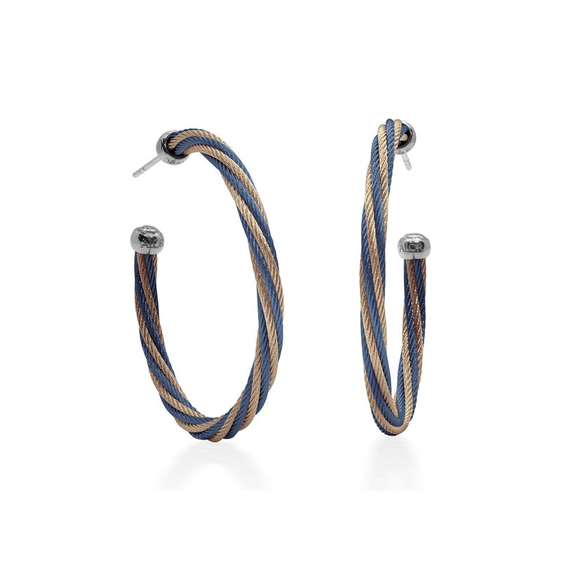 "ALOR Blueberry & Carnation Twisted Cable 1.5"" Hoop Earrings with 18kt White Gold"