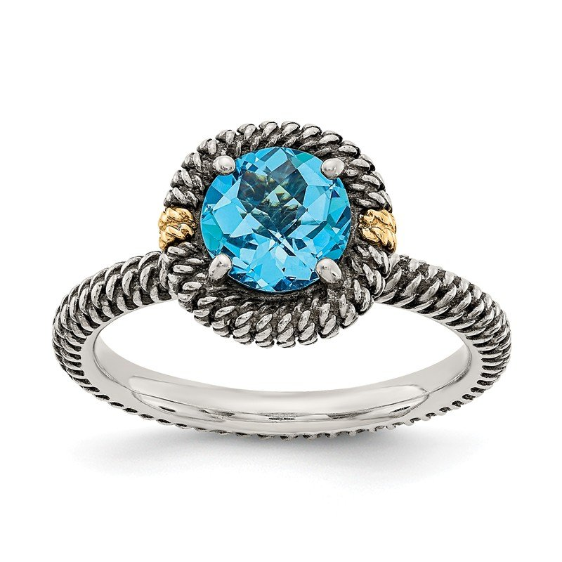 Shey Couture Sterling Silver w/14k Round Blue Topaz Ring