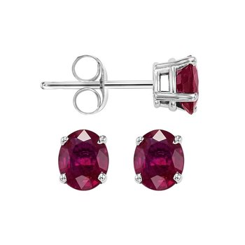 Oval Prong Set Ruby Stud Earrings in 14K White Gold