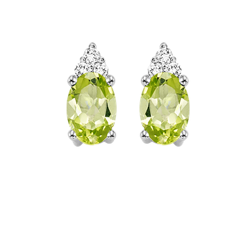 10K White Gold Color Ensembles Prong Peridot Earrings 1/25CT
