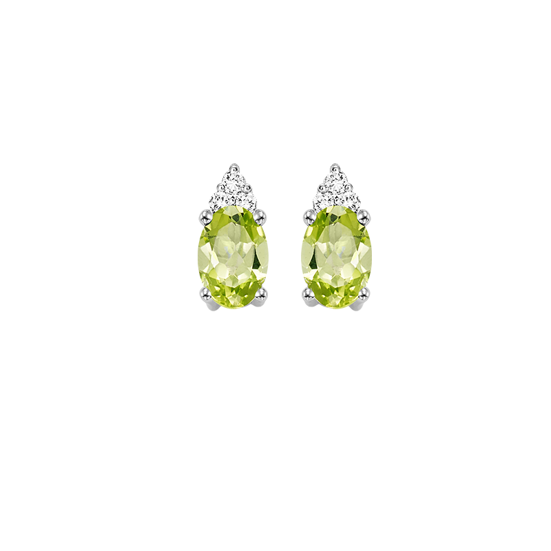 Gems One 10K White Gold Color Ensembles Prong Peridot Earrings 1/25CT