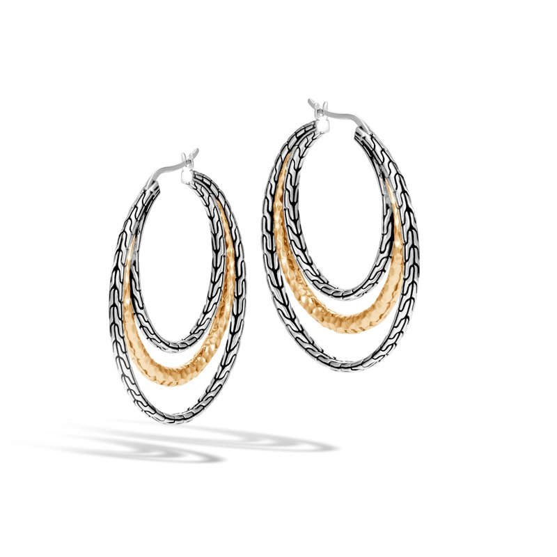 JOHN HARDY Classic Chain Medium Hoop Earring Silver, Hammered 18K Gold