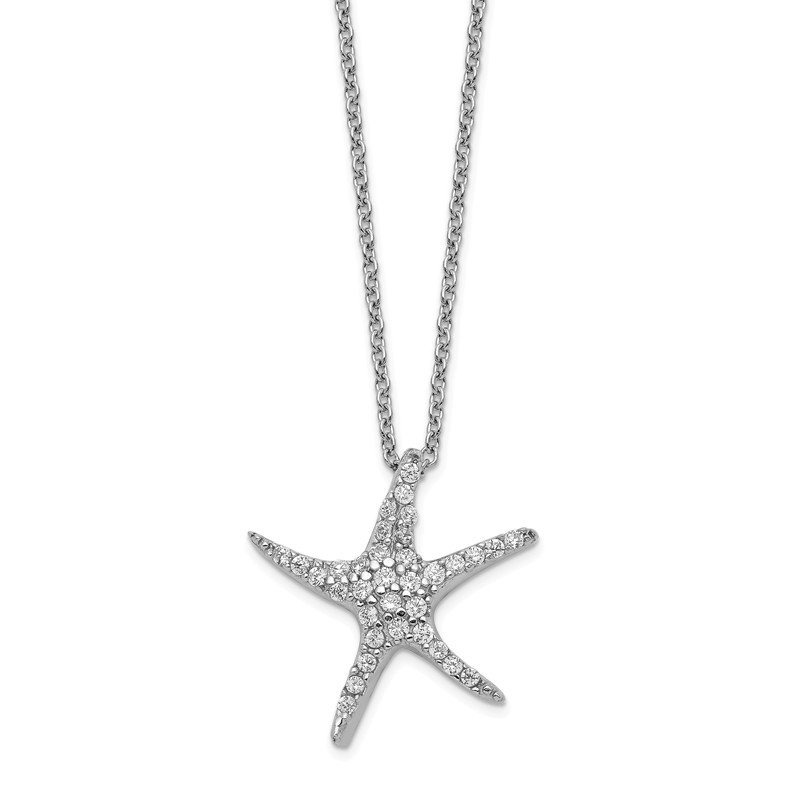 Cheryl M Cheryl M Sterling Silver CZ Starfish 18in Necklace