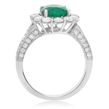 Flowering Emerald & Diamond Ring