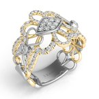 S. Kashi  & Sons White & Yellow Gold Pave Band