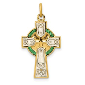 Sterling Silver Rhodium-plated Polished/Gold-plated Epoxy Cross Pendant