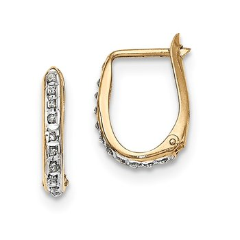 Sterling Silver Gold-plated Diamond Mystique Oval Hoop Earrings