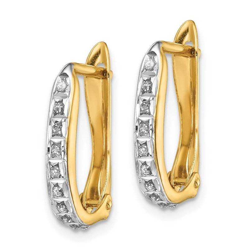 Quality Gold Sterling Silver Gold-plated Diamond Mystique Oval Hoop Earrings