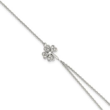 Sterling Silver Polished CZ Four Leaf Clover Attached Ring/Bracelet