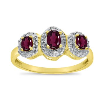 10k Yellow Gold Oval Rhodolite Garnet And Diamond Three Stone Ring