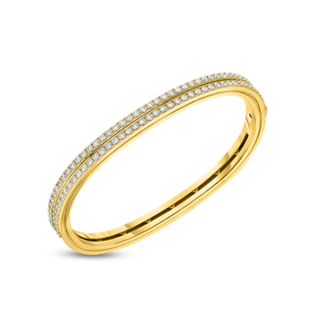 18KT 2 ROW DIAMOND PORTOFINO HINGED BANGLE