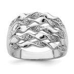 Quality Gold Sterling Silver Rhodium-plated CZ Ring