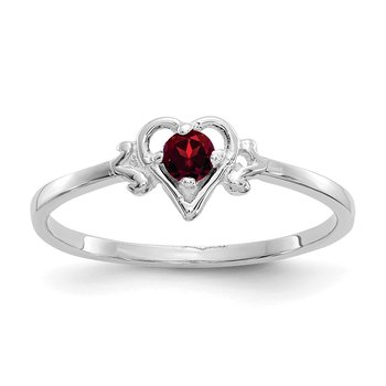 14K White Gold Garnet Birthstone Heart Ring