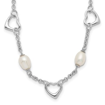Sterling Silver 5-6mm White Egg FWC Pearl w/Heart 2in ext Necklace