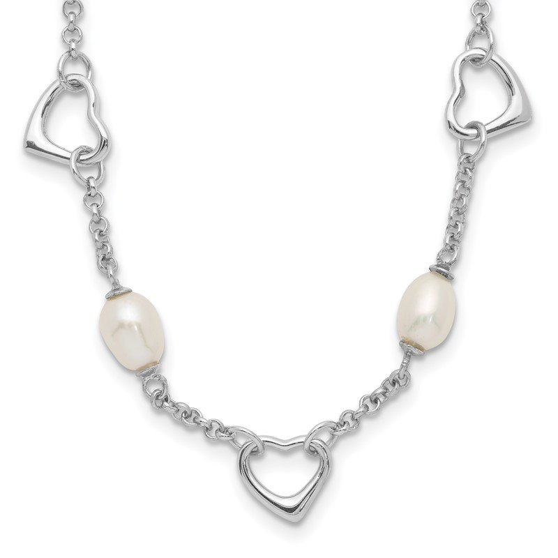 Quality Gold Sterling Silver 5-6mm White Egg FWC Pearl w/Heart 2in ext Necklace