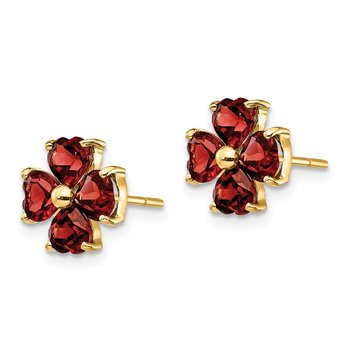 14k Heart-shaped Garnet Flower Post Earrings