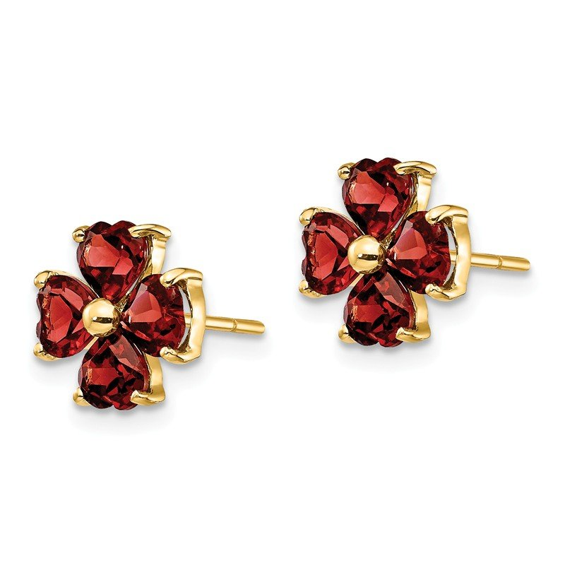 Quality Gold 14k Heart-shaped Garnet Flower Post Earrings