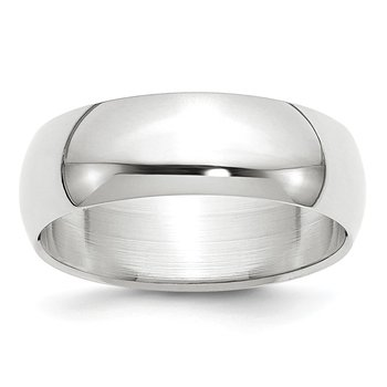 14k White Gold 7mm Half-Round Band