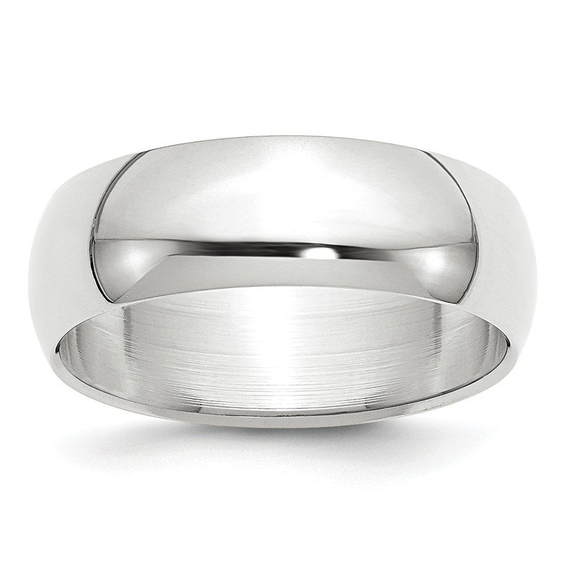 Quality Gold 14k White Gold 7mm Half-Round Band